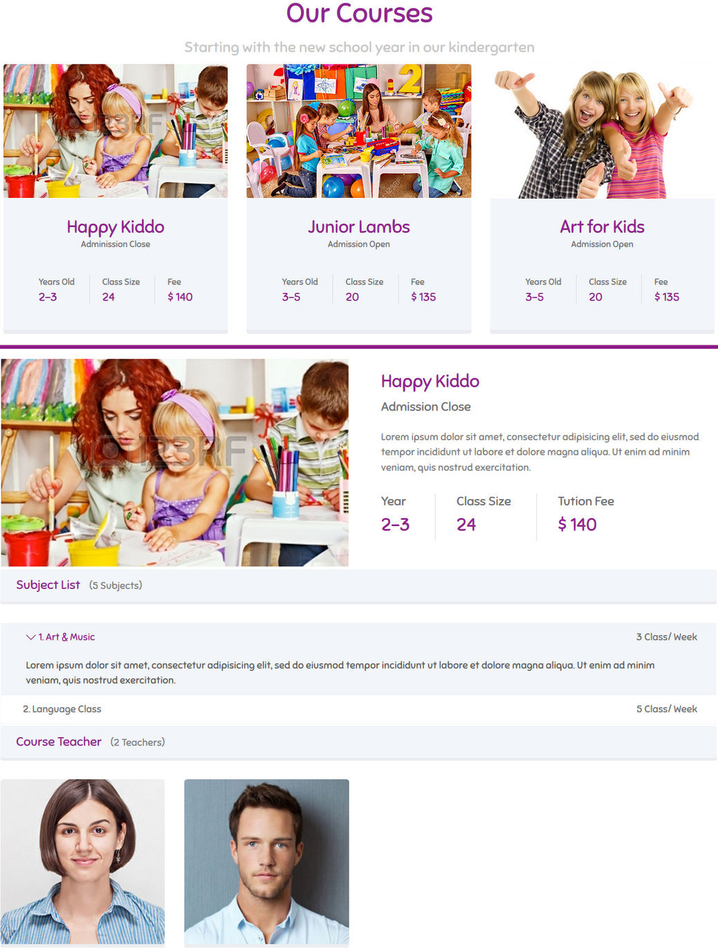 courses tool for kids - joomla component