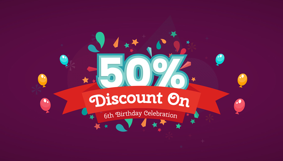 JoomShaper's 6th birthday celebration: 50% crazy discount on all products!