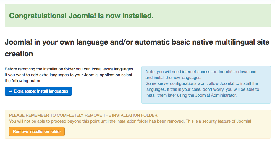 Final step of Joomla installation