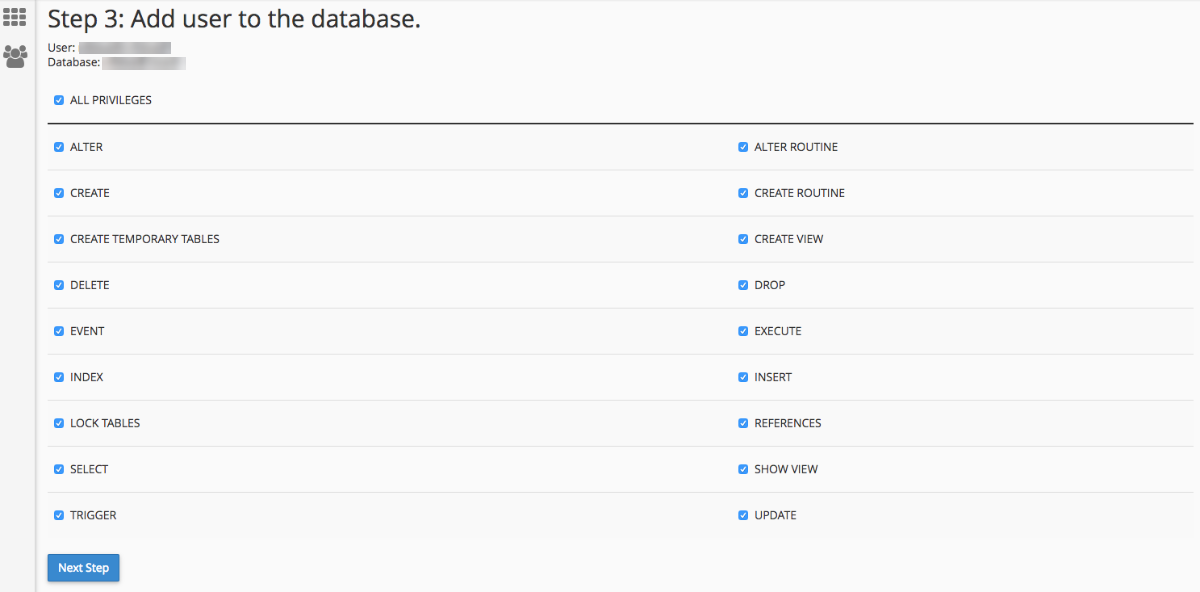 User accesses in the database