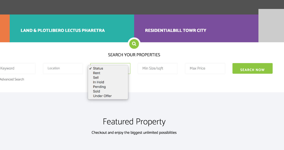 SP Property status added in the search option