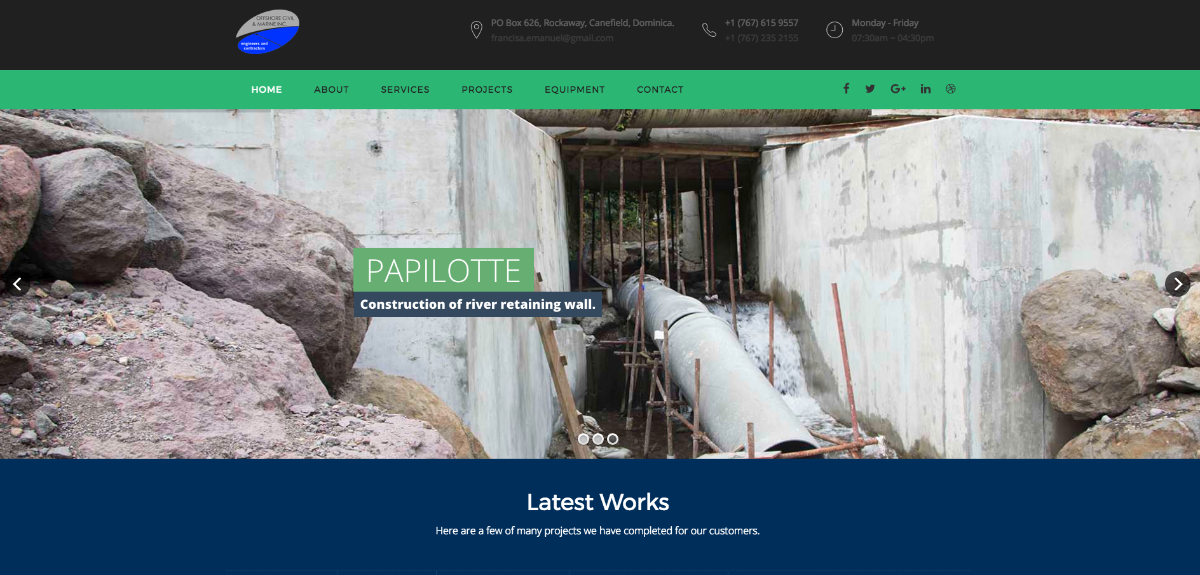 Website of Offshore civil and marine Inc