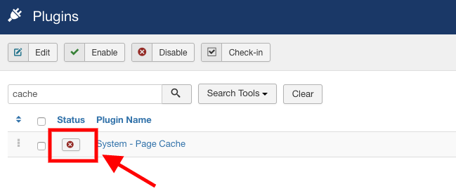 Enable page caching from plugin manager