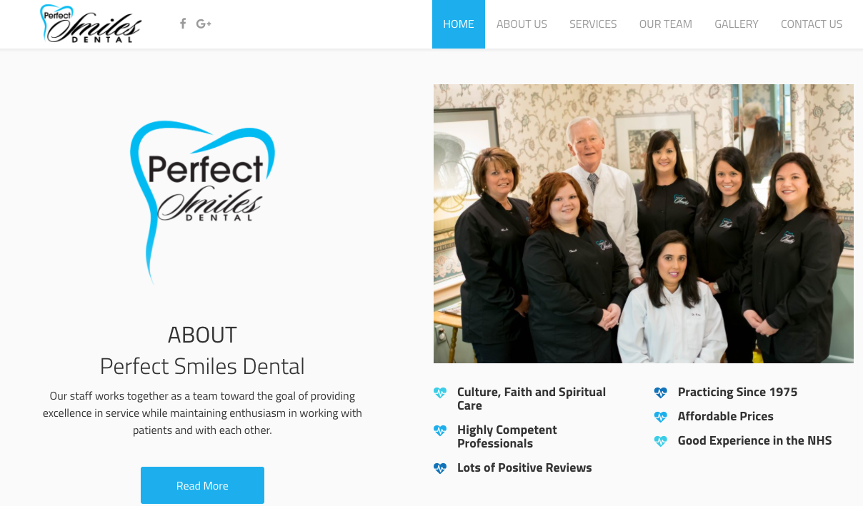 Website of Perfect Smiles Dental