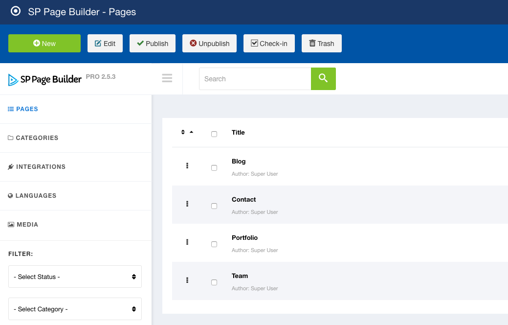 SP Page Builder backend dashboard