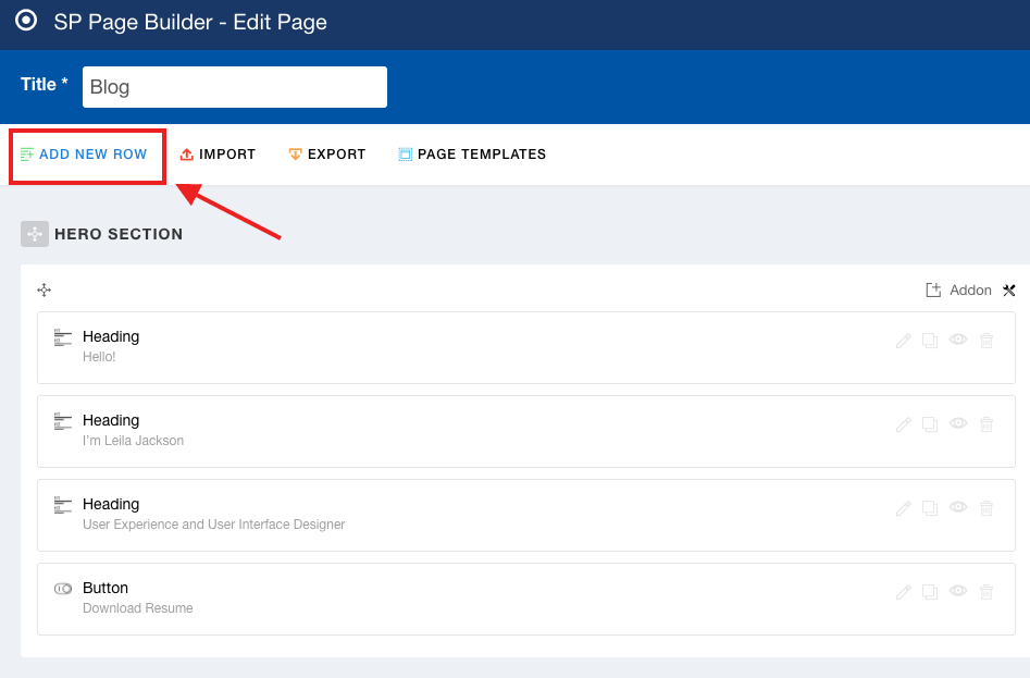 Adding a new row with SP Page Builder backend edior