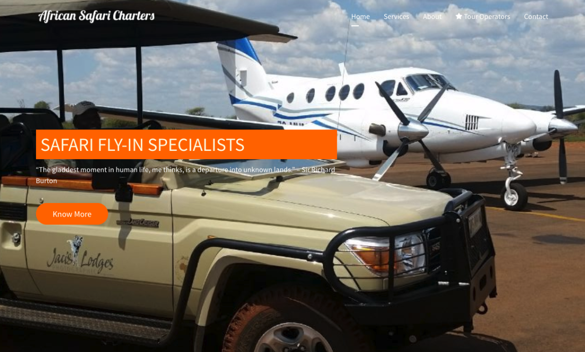African Safari Charters developed their website with SP Page Builder