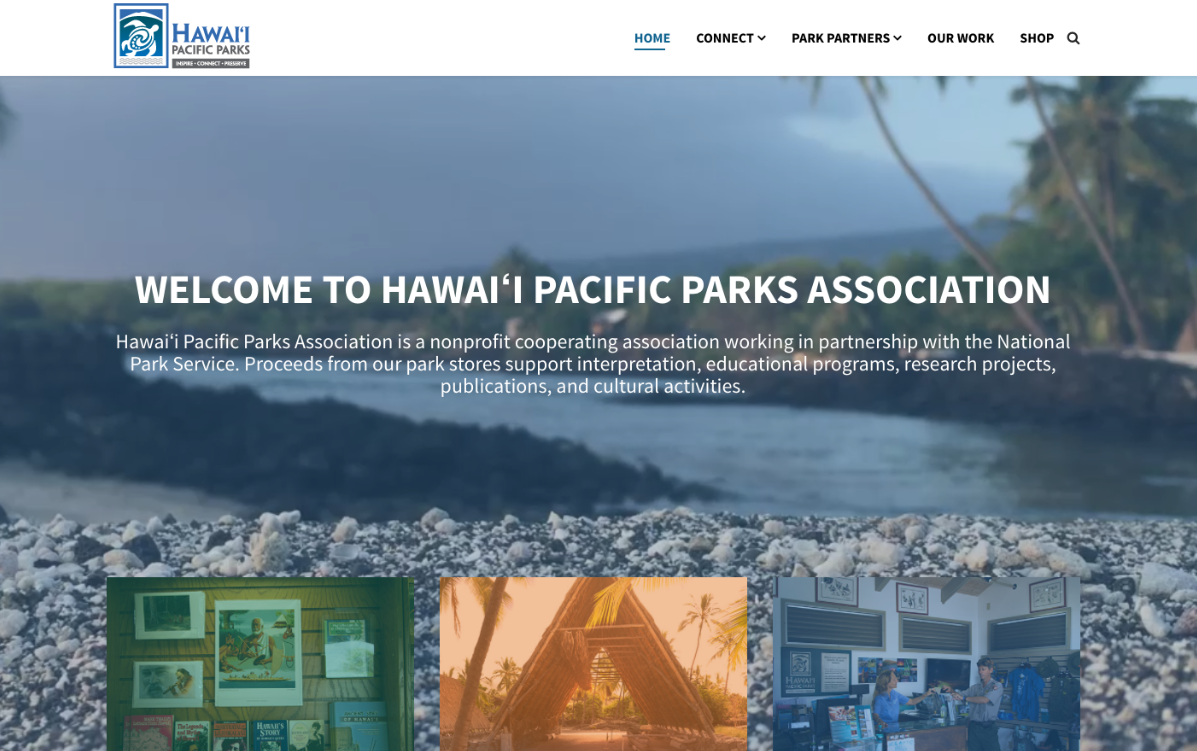 Hawaii Pacific Park Assosiation developed their website with SP Page Builder