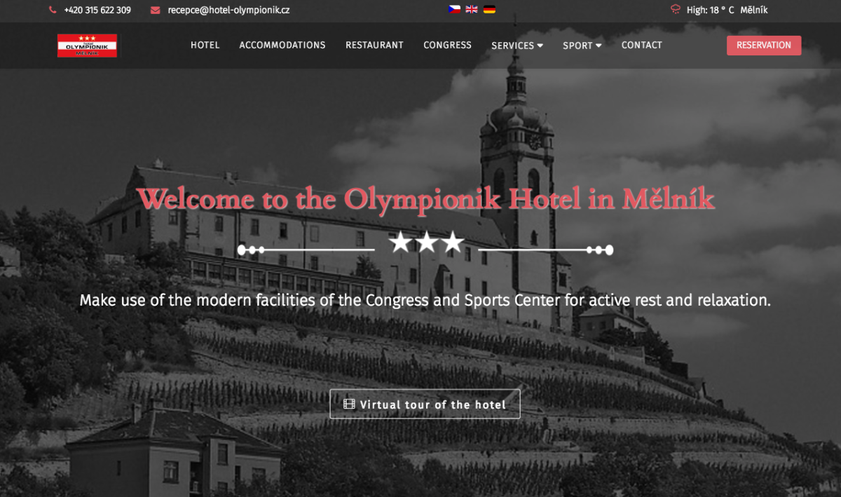 Olympionik Hotel developed their website with SP Page Builder