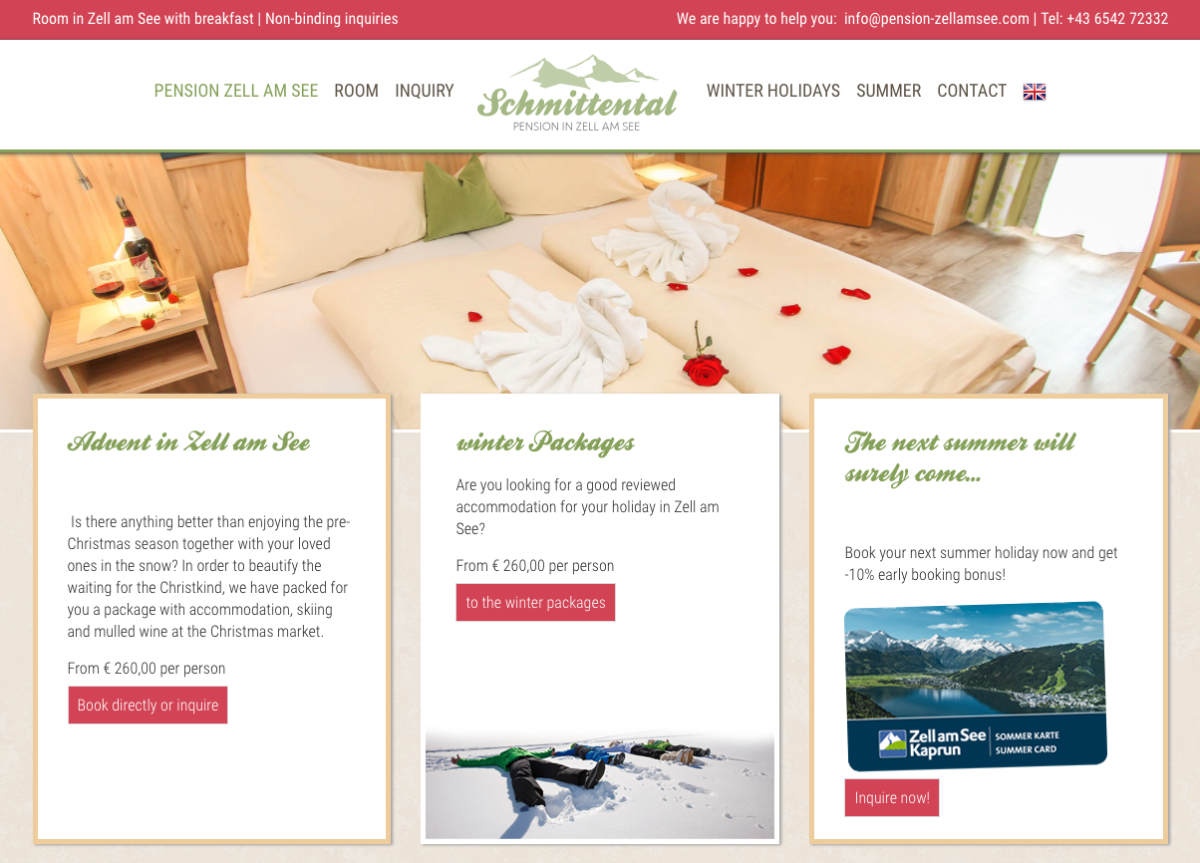 Schmittental Hotel developed their website with SP Page Builder