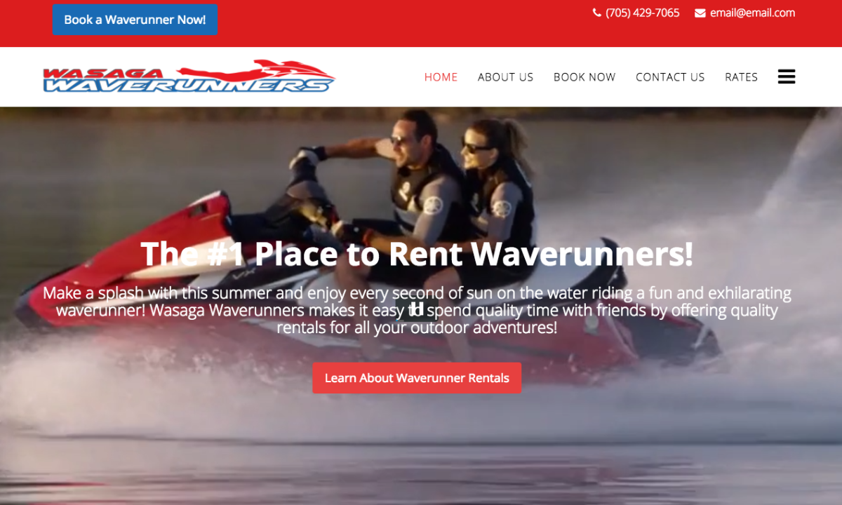 Wasaga Waverunners developed their website with SP Page Builder
