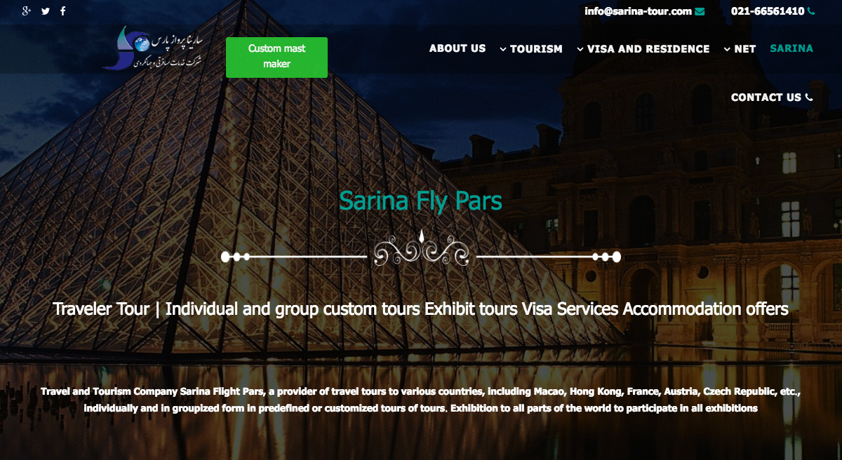 Sarina Tour developed their website with SP Page Builder