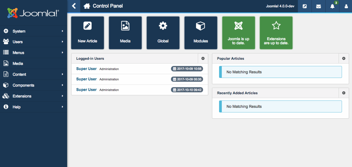 The new admin dashboard of Joomla 4