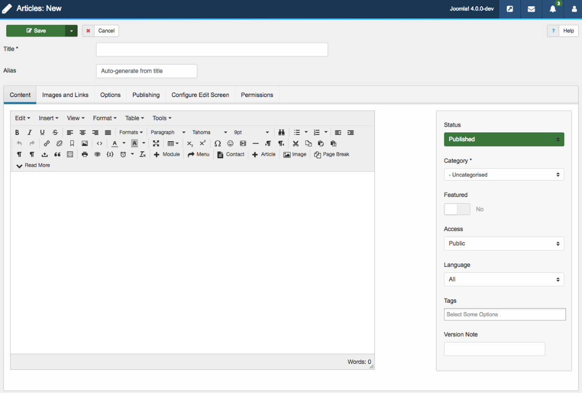 Article editing interface of Joomla 4
