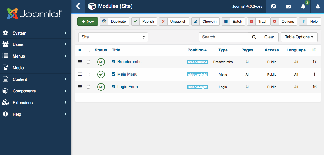 New module page of Joomla 4