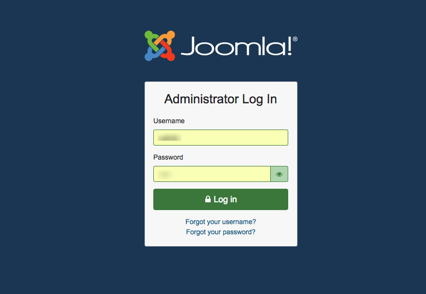The new login page of Joomla 4