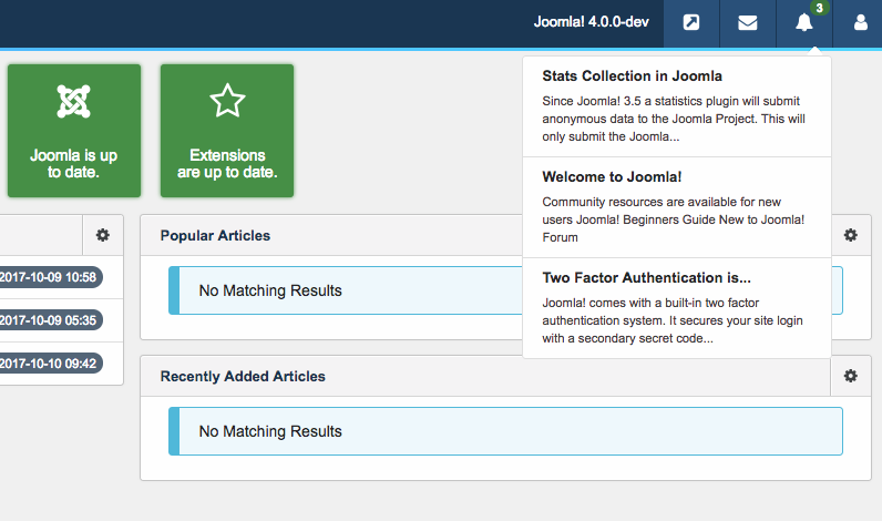 New notification panel of Joomla 4