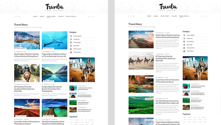 Two blog layout listing designs of Travelia.