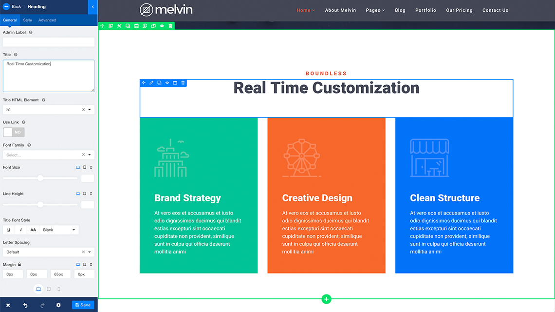 Melvin empowers you to build and customize your website quickly with real-time editing capabilities.