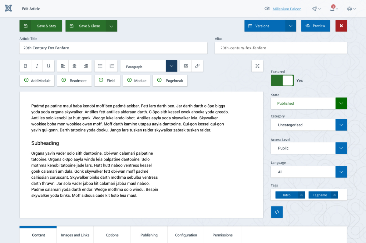 Article creation and editing interface in the Joomla 4 admin dashboard.