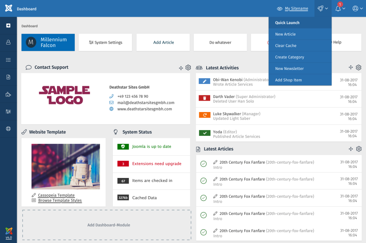 The design of the admin dashboard of Joomla 4.