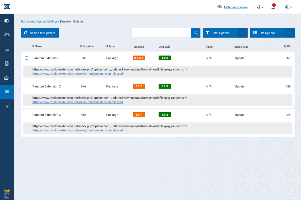 Extension status in Joomla 4 admin dashboard.