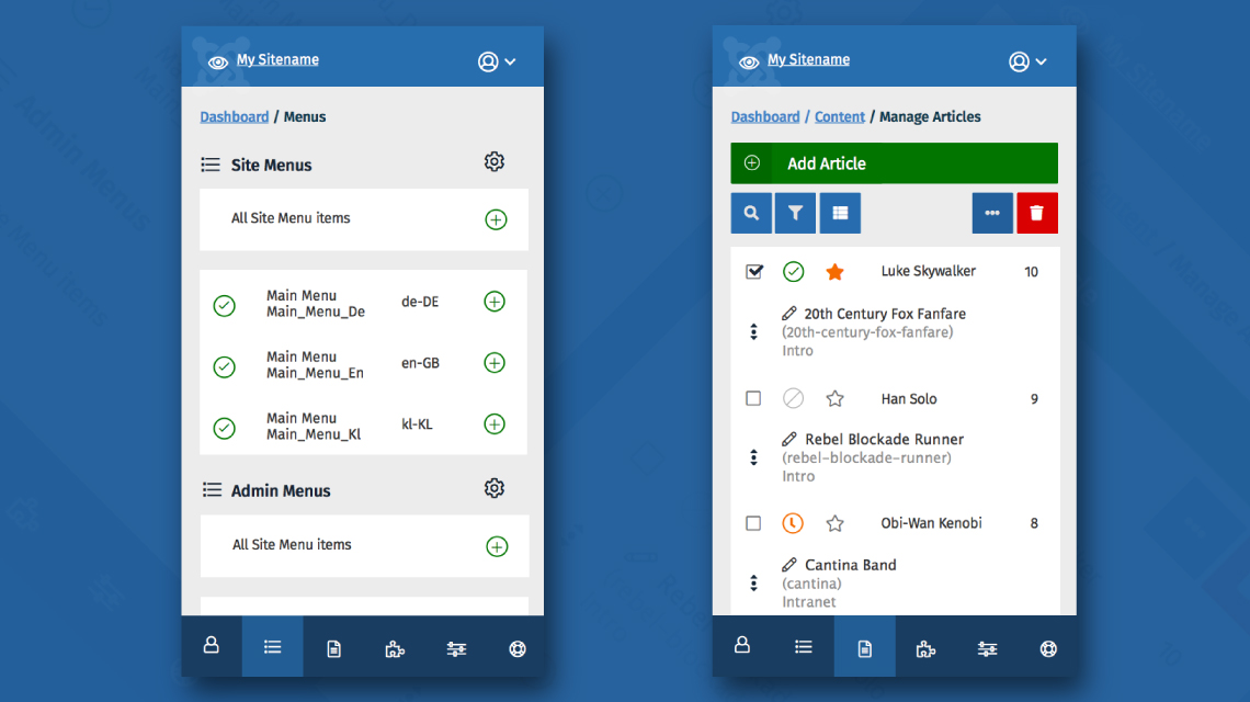 Mobile view of Joomla 4 admin dashboard.