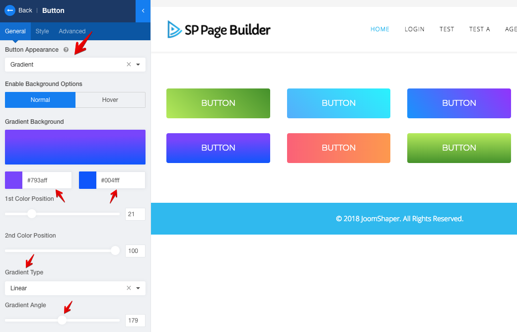 Button gradients in SP Page Builder 3.1.1