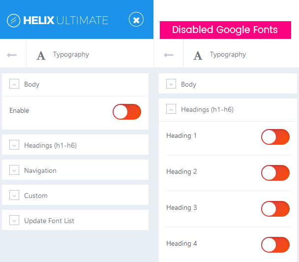 how to disable google fonts helix