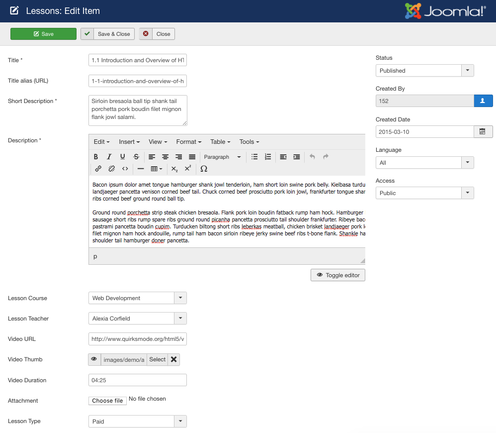 How to create a Udemy like eLearning platform using Joomla