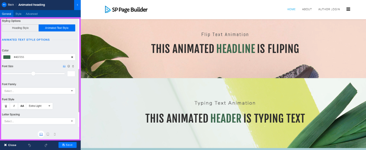 Text Animation in SP Page Builder Pro v3.3.5