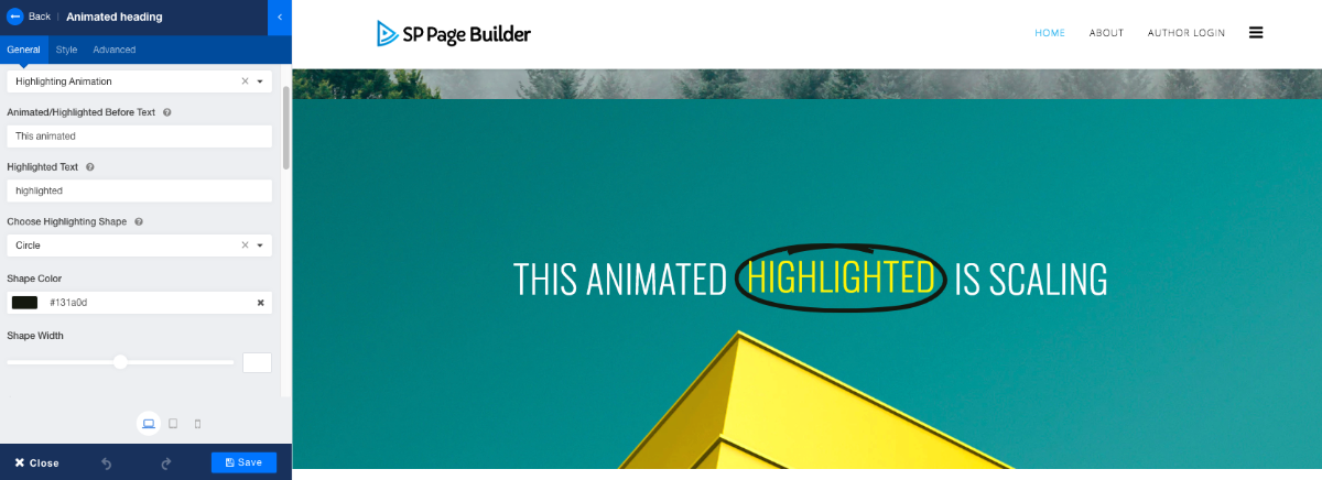 Header Animation in SP Page Builder Pro v3.3.5