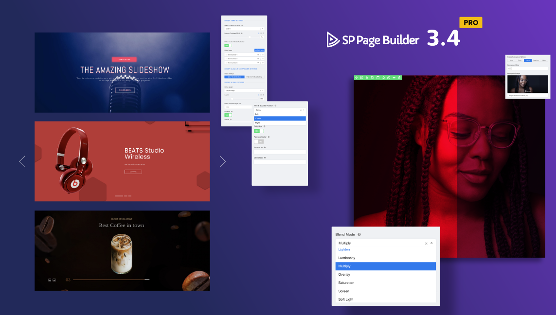 SP Page Builder 3.4 Pro brings the most awaited Slideshow addon, Blend mode and more