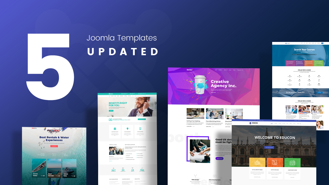 5 Joomla templates updated with latest components and enhancements