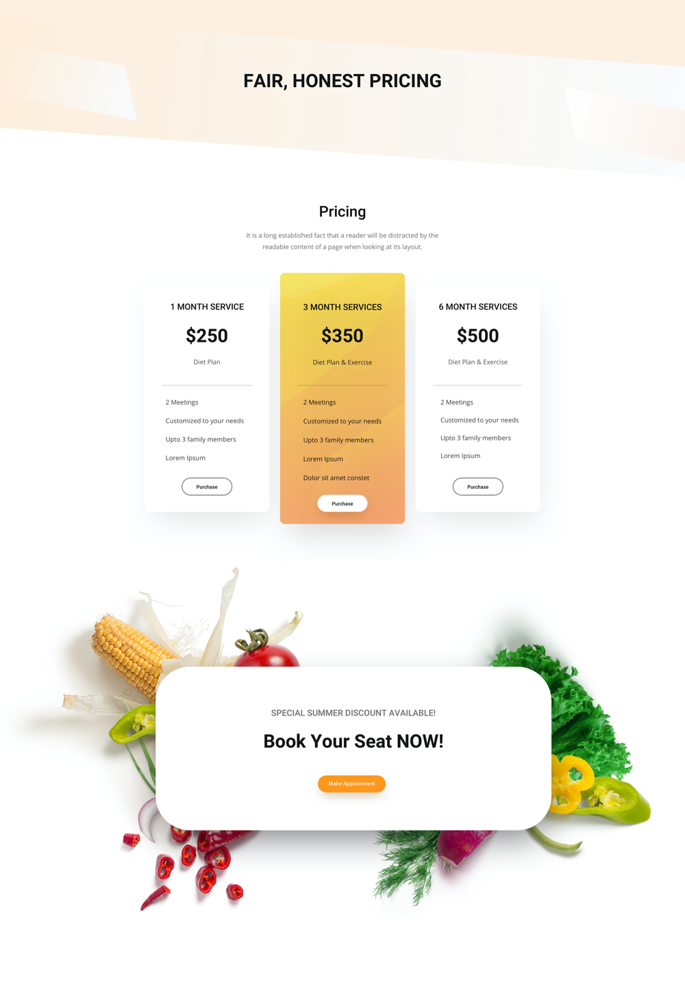 Dietician Pricing Layout