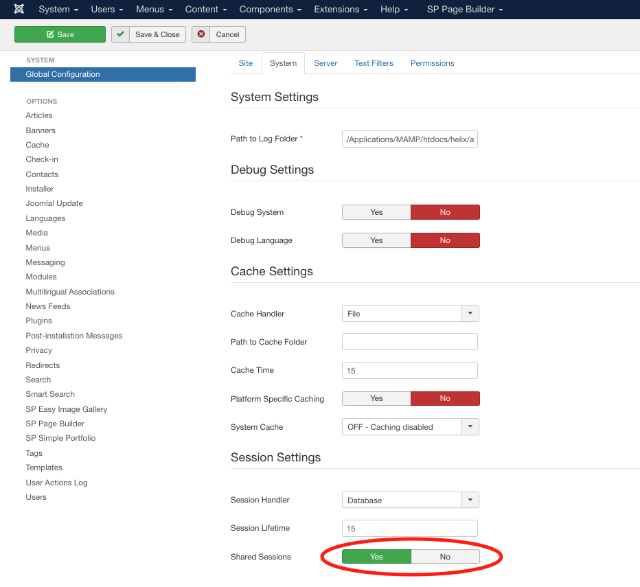 How To Enable Shared Sessions in Joomla