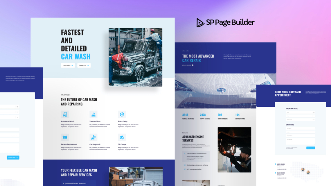 Introducing Car Wash & Repair - A Free Layout Bundle for SP Page Builder Pro