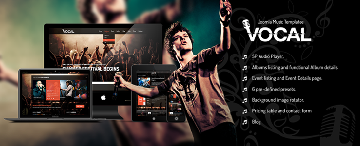 Review: Shaper Vocal - Responsive Joomla Music Template