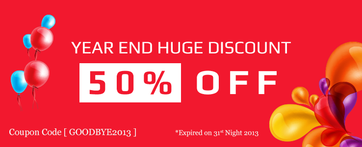 Year end sale 2013: 50% off on all memberships