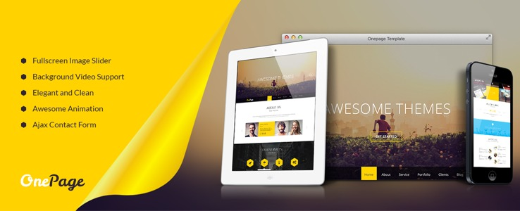 onepage layout design - joomla 3 template