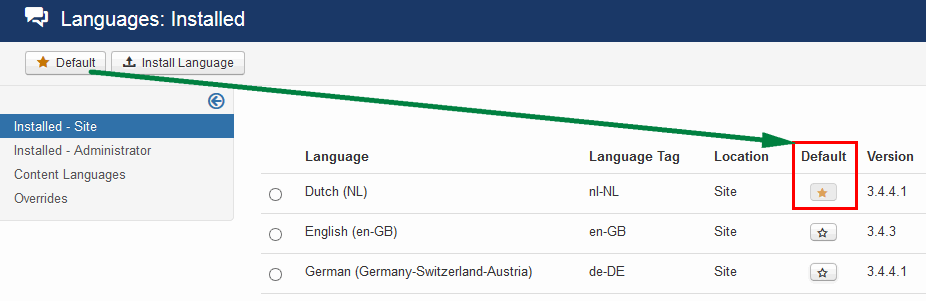 multi language default