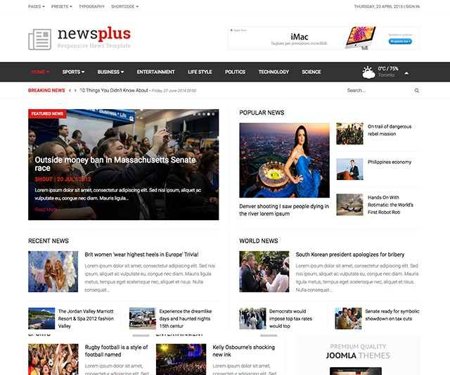 Shaper NewsPlus - Responsive News/Magazine Joomla Template