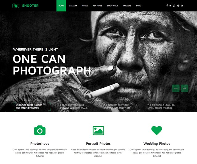 Shaper Shooter - Clean Photography Portfolio Joomla Template